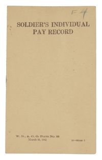 WORLD WAR II SOLDIERS PAY BOOKLET